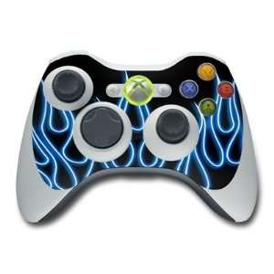 Blue Neon Flames Design Skin Decal Sticker for the Xbox