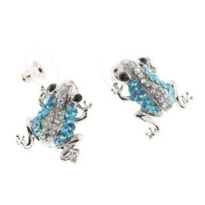 Very Cute Silver Tone Light Blue Clear Rhinestone Frog Earrings With