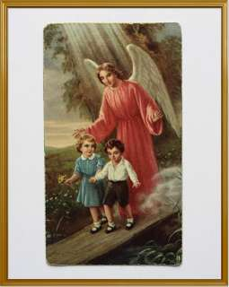 Vintage Basevi Holy Card GUARDIAN ANGEL Protecting BOY & GIRL Crossing