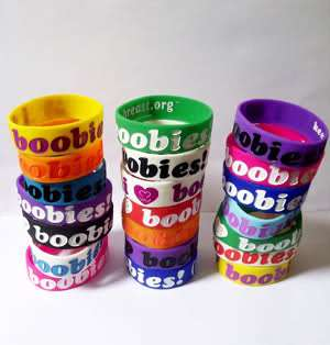 LOVE BOOBIES WRISTBAND BRACELET MULTI COLOUR COLOR NEON BRACELETS