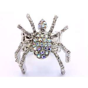 Spider Fashion Ring on Stretch Band Silver Tone   AWESOME Jewelry