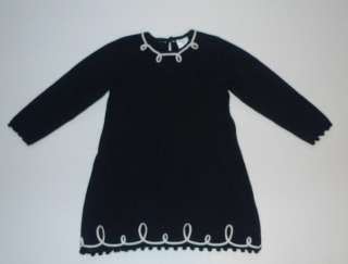 Hanna Andersson Black White Milano Knit Sweater Dress Size 90