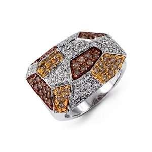 18k White Yellow Rose Gold Brown Round Diamond Ring