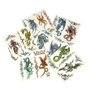 Large Temporary Assorted Dragon Tattoos 1 dozen unit