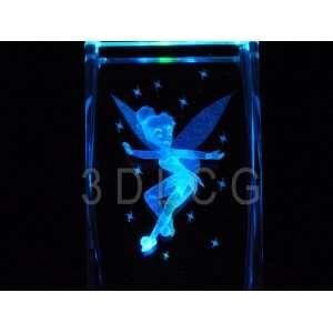 Disney Tinkerbell Flying 3D Laser Etched Crystal S2