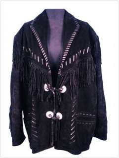 Mens Cowboy Western Wear Suede Leather Coat Type Show Jacket Fringed