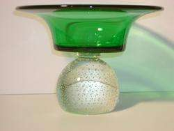 ERICKSON GLASS EMERALD GREEN PAPERWEIGHT COMPOTE