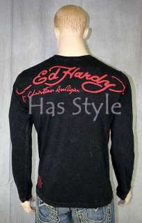 Ed Hardy MenS King Skull long sleeve Shimmer T Shirt XL