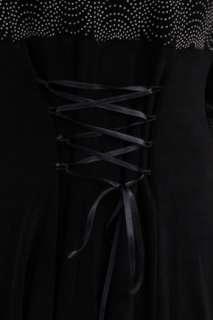 Vintage Grunge Black Retro Cream Dot Corset Tie Skater Skirt Sleeve