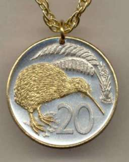 Gold on Silver New Zealand 20 cents Coin Kiwi Necklace