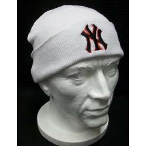 Beanie White Ny New York Yankees Winter Ski Kids Woolly