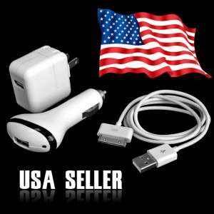 10W iPad 2 iPod, iPhone wall +Car Charger+usb data sync charger cable