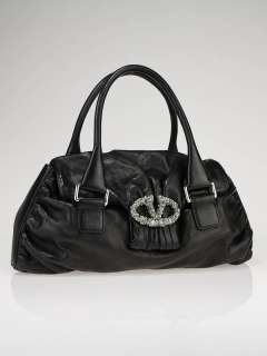 Valentino Garavani Black Nappa Leather and Crystal Satchel Bag