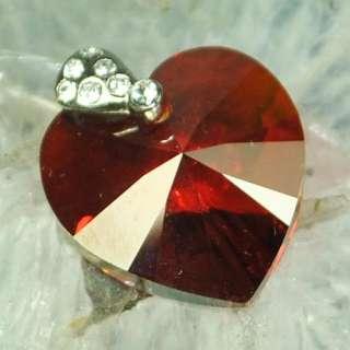 925 Silver Swarovski Crystal Heart Pendant  10 Colors