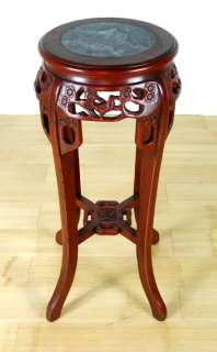 MARBLE TOP RED WOOD STAND Plant Display Side End Table