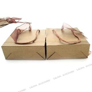 10x Brown Ribbon Paper Carrier Gift Bags 11x10cm 120203