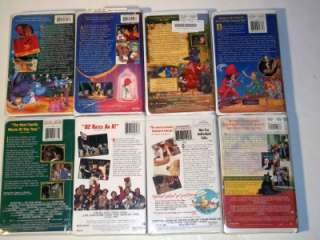 Lot 8 Walt Disney Kids Movies VHS Clamshell Case Wizard Oz Aladdin