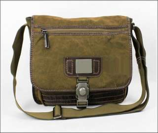 2012 NEW Mens Khaki Nubuck Leather Canvas Satchel Shoulder Bag free