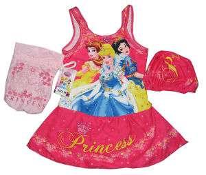 NWT GIRLS DISNEY PRINCESS SWIMSUIT BAG SET XS 1 2 Yrs