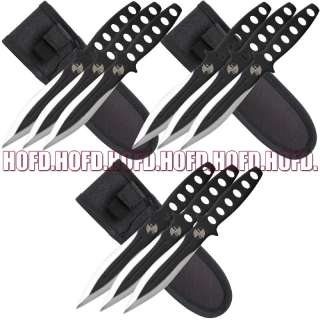 LOT OF 9 6 Black Full Tang Throwing NINJA Knife Set
