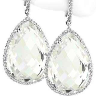 28.45ct WHITE CRYSTAL PEAR SHAPE QUARTZ & DIAMOND DANGLE EARRINGS 14K
