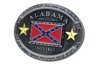 Alabama Rebel Flag Belt Buckle Confederate State Southern Pride