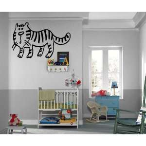 Cute Cartoon Baby Tiger Cat Kids Room Nursery Animal Design Wall Mural