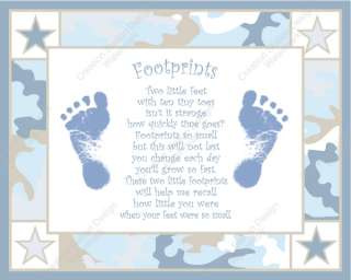 Blue and Khaki Camo Babys Footprint with Poem
