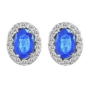 Platinum Round Diamond & Oval Blue Sapphire Earrings (1 cttw, H I, SI