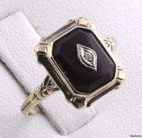 Accented ONYX RING   10k Yellow White Gold Vintage 1920s 1930s Fashion