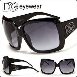 DG Eyewear Designer Oversized Women Sunglasses Black Large Frame Gray