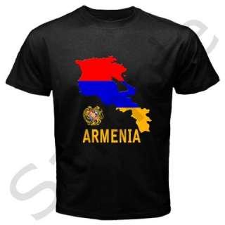 Armenia Armenian Map Flag Emblem Black T shirt