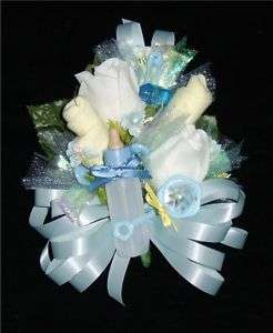 Baby Shower Corsage Yellow Baby Socks & Blue Ribbons