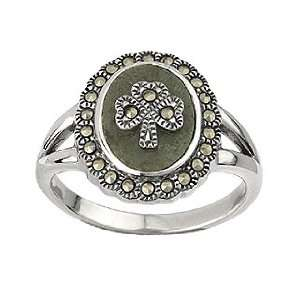 Sterling Silver Marcasite Shamrock Marble Ring Jewelry