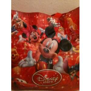 Themed Large Red Shopping Tote Bag Featuring Mickey and Minnie Mouse