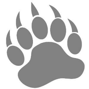 GRIZZLY BEAR PAW PRINT   Vinyl Decal Sticker 5 SILVER
