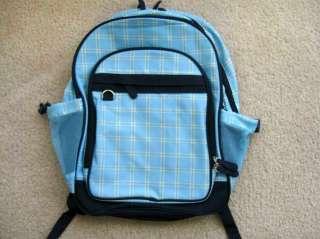 Girls Boys Full Sized School Backpack Blue Plaid EUC