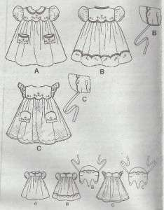 VINTAGE STYLE BABY GIRLS SIMPLICITY PATTERN 2392 SZ 1 MO   18 MO