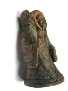 ANTIQUE WOODEN STATUE WITH BIRD. INTRICATE CARVING