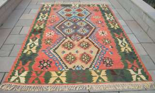 Turkish Rug Kilim 75 x 106 Hand Woven Wool Kelim Hand Knotted from