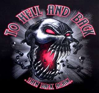 TO HELL BACK EVIL SKULL BIKER SWEATSHIRT T SHIRT X12