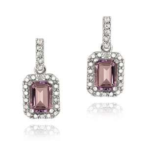 925 Silver 2ct Amethyst Diamond Dangle Earrings
