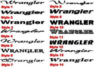 Wrangler decal set for Jeep YJ MJ TJ JK XJ rubicon CJ7