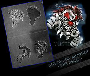 Airbrush Stencil Template 4 Steps AS 030 M Size 5,11 x 3,95