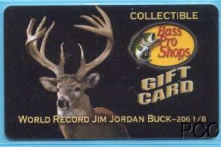 BASS PRO SHOPS World Record Jim Jordan Buck 2007 Gift Card