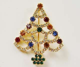 Gorgeous Open Back Vintage Prong Set Rhinestone Christmas Tree Brooch