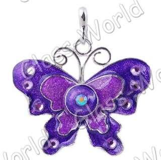 6pc Butterfly Enamel&White Gold Plated 34*48MM Pendants