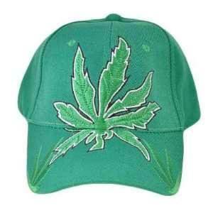 GANJA WEED MARIJUANA CANNABIS POT LEAF HAT CAP GREEN