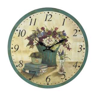 Old World Tuscan Clock French Floral Bouquet & Book Design