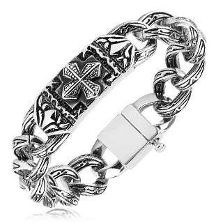 Steel Mens 8.75 Wide & Heavy Celtic Cross Bracelet (3103)
